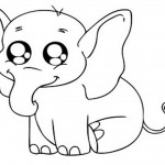 Baby Elephant Coloring Page Image