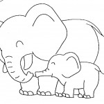 Baby and Mother Elephant Coloring Page