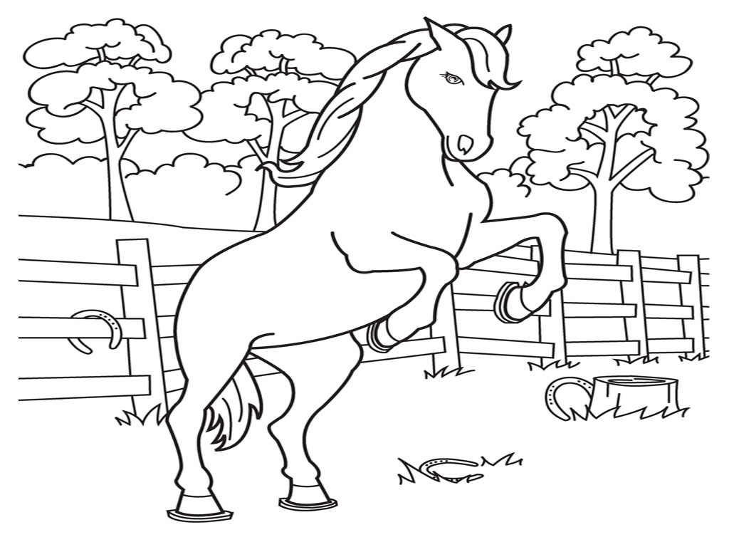 coloring page of horses picture