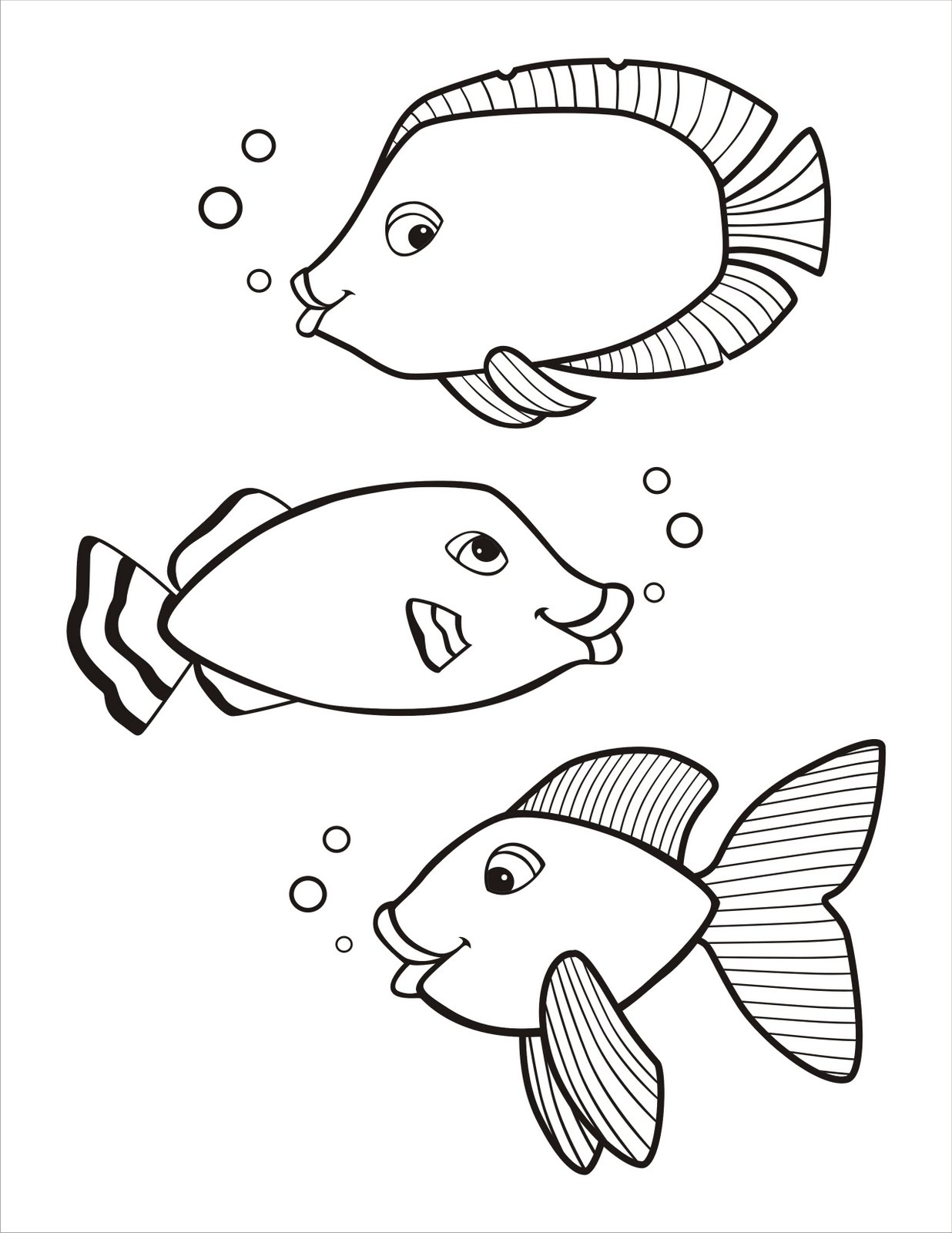 Free printable fish coloring pages for kids animal place for Free coloring fish pages
