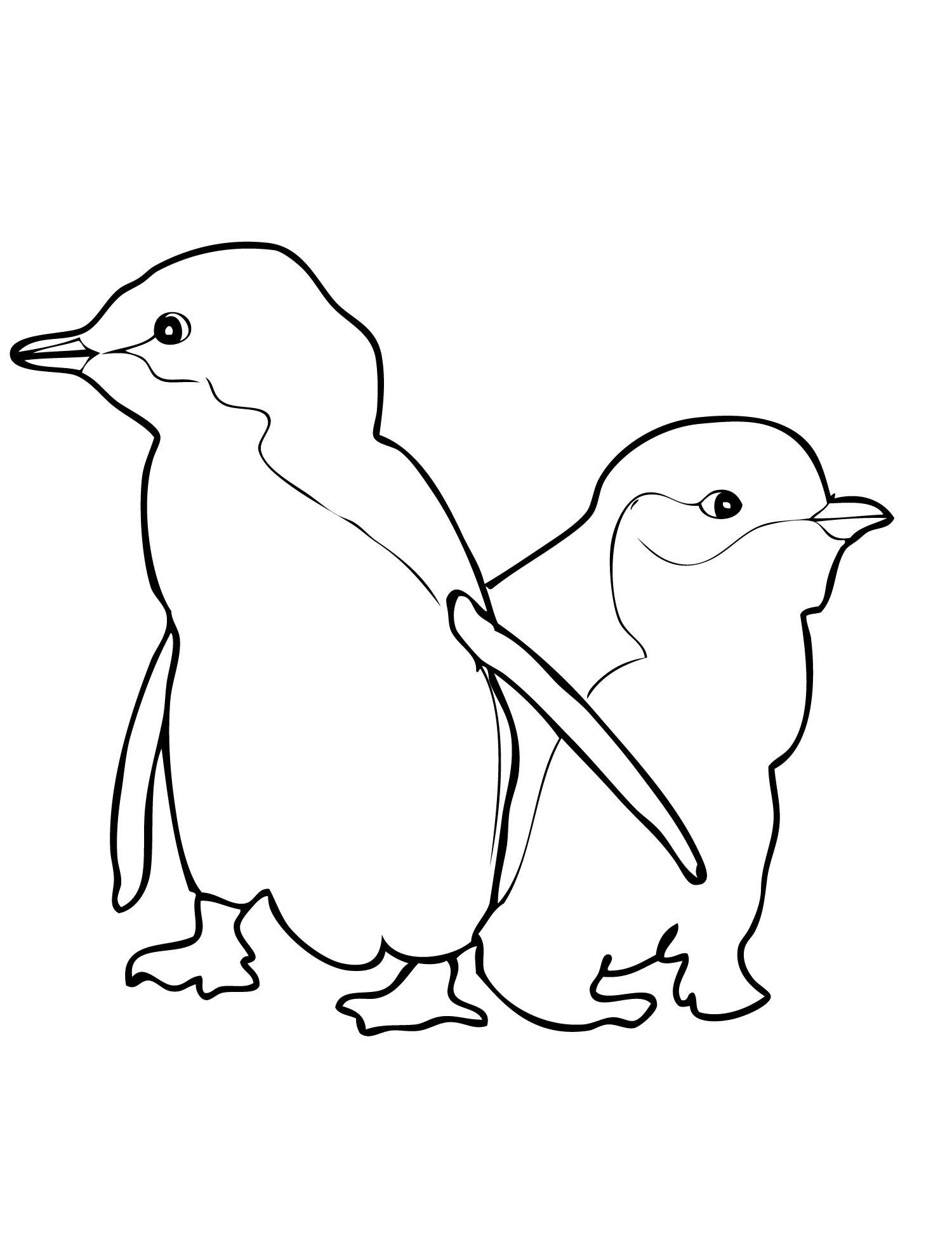 Cute penguins coloring pages