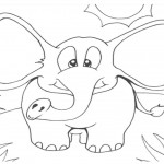 Elephant Coloring Page for Kids Pictures