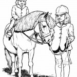 Horse Coloring Page Kids With Pony Photo