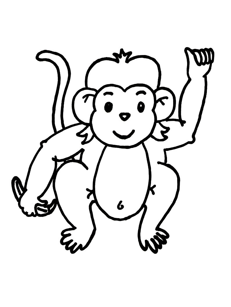 Monkey coloring pages for toddlers - Free Printable Monkey Coloring Pages For Kids