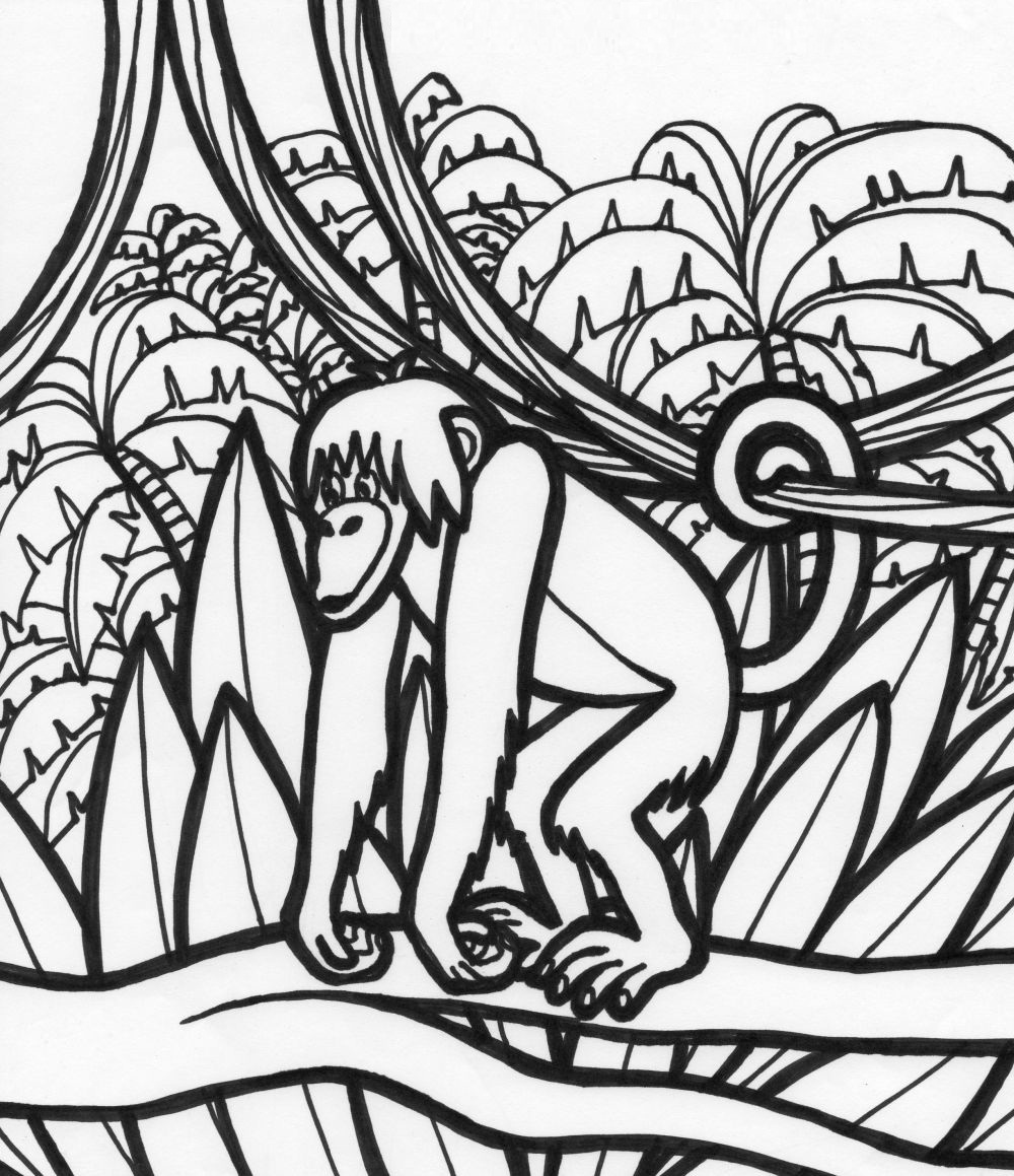 Free printable coloring pages environment - Monkey Coloring Pages Photos