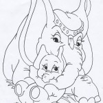 Mother and Baby Elephant Coloring Page