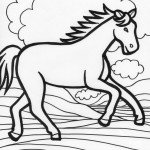 Running Horse Coloring Page Image