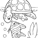 Turtle Coloring Page for Kids Picture