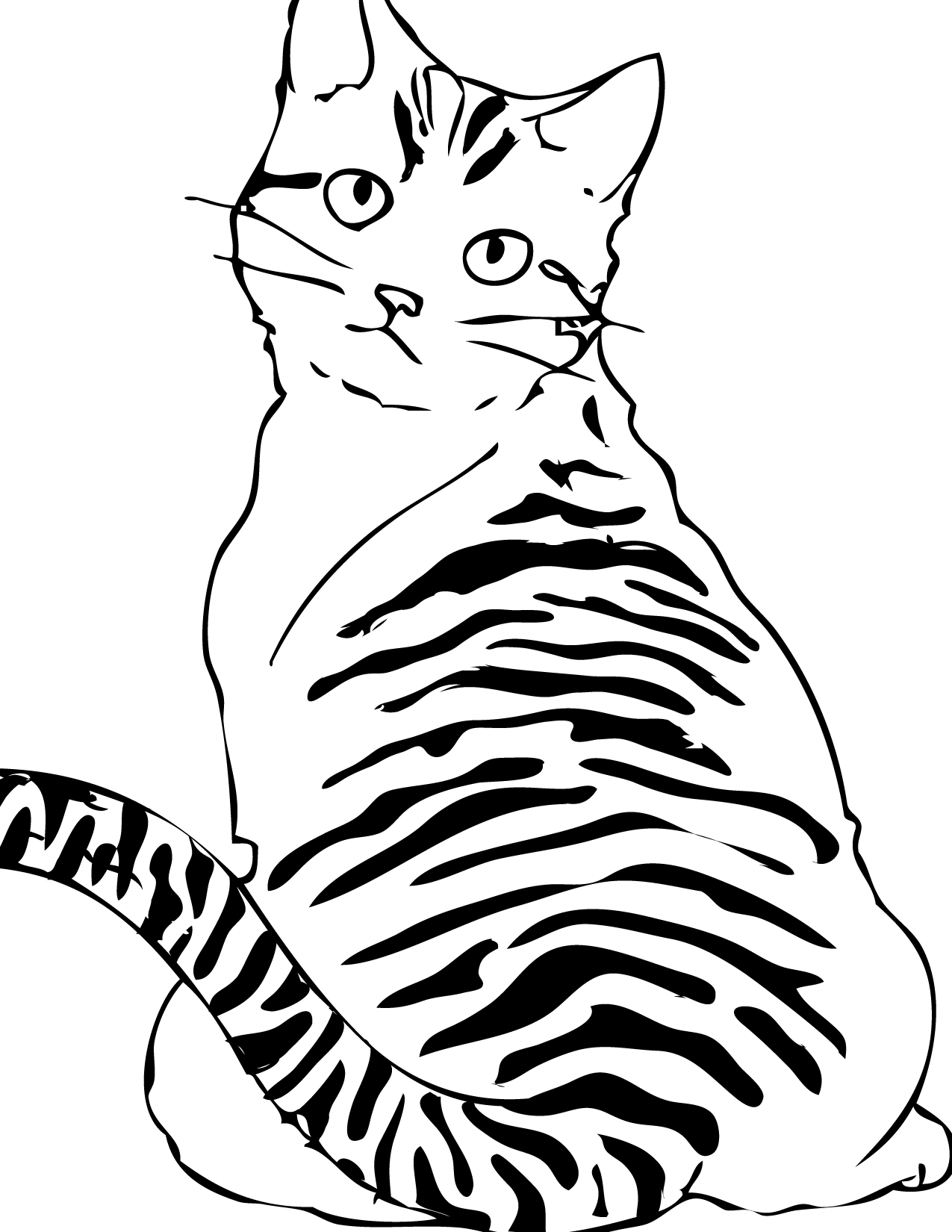 Free printable cat coloring pages for kids animal place for Coloring pages kitten