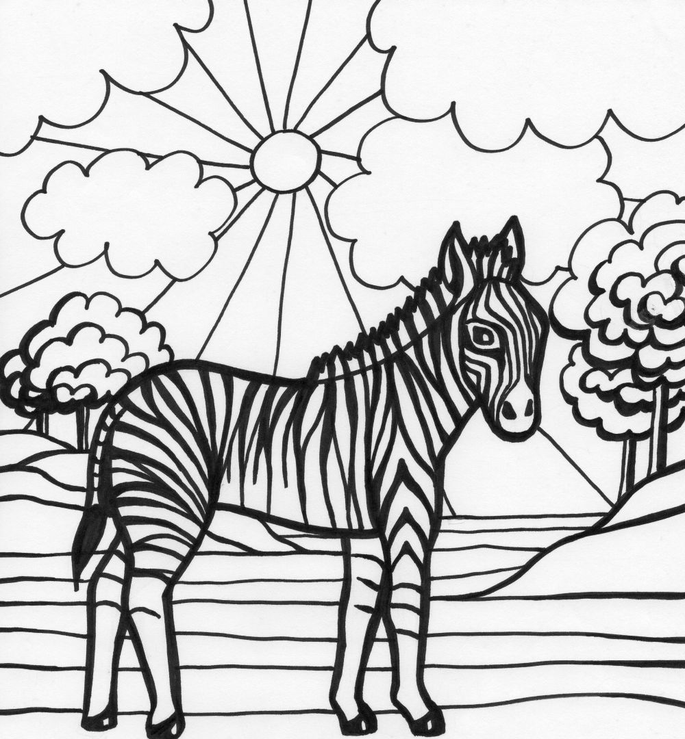 Coloring pages zebra - Coloring Pages Zebra 13